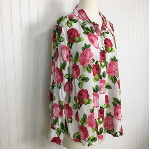 Foxcroft long sleeve button up rose print top 16 W